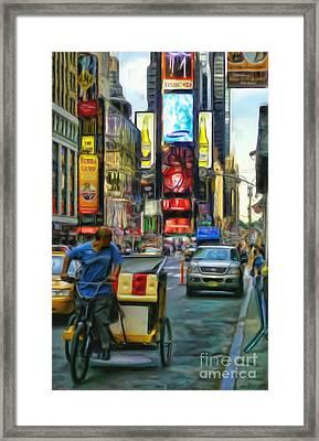 Nyc Bike Taxi Framed Print by Jeff Breiman