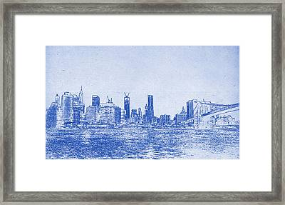 Nyc Blueprint Framed Print by Celestial Images