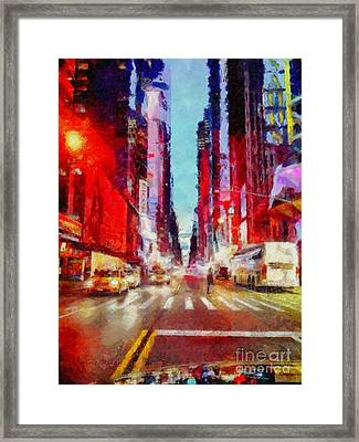 Nyc Fifth Ave Framed Print by Janine Riley