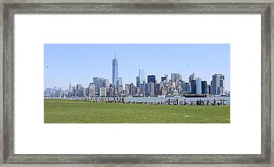Island View Of Manhattan Framed Print by Suzanne Perry