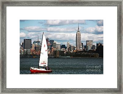 Nyc Harbor View Framed Print by John Rizzuto