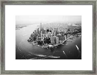 Nyc Manhattan Aerial Framed Print by Nina Papiorek