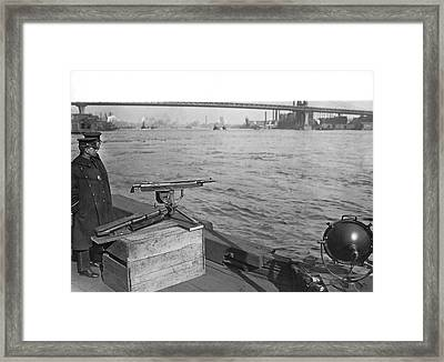 Nyc Prohibition Police Boat Framed Print by Underwood Archives