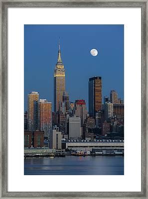 Nyc Skyline Blue Hour Framed Print by Susan Candelario