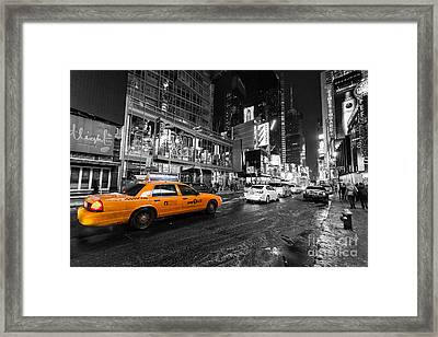 Nyc Taxi Times Square Color Popped Framed Print by John Farnan