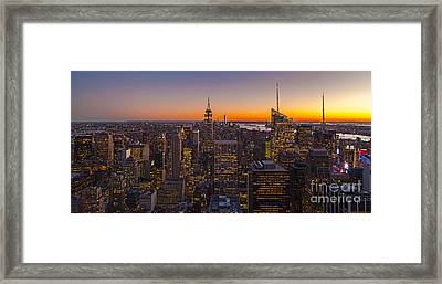 Nyc Top Of The Rock Sunset Framed Print by Mike Reid