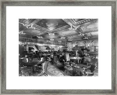 Nyc, Waldorf-astoria Hotel, Billiard Framed Print by Science Source
