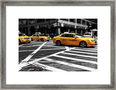 Nyc  Yellow Cab - Cki Framed Print by Hannes Cmarits