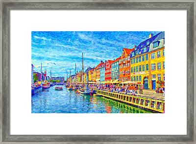 Nyhavn In Denmark Painting Framed Print by Antony McAulay