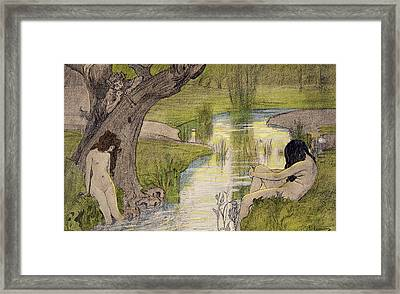 Nymphs Bathing Framed Print by French School