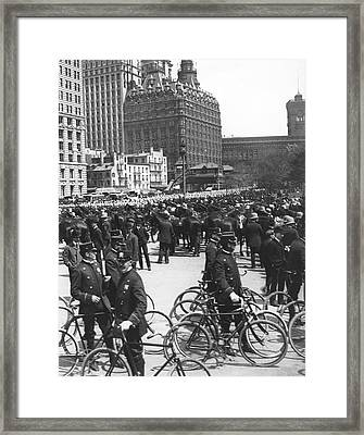 Nypd Bicycle Force Framed Print by Underwood Archives