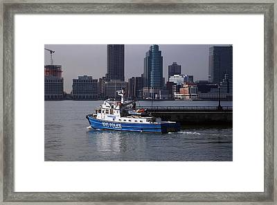 Nypd Patrol Boat Framed Print by Richard Booth