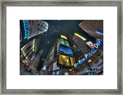 Nypd Times Square Framed Print by Mark Ayzenberg