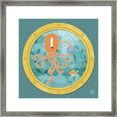 O Is For Oliver The Orange Octopus Framed Print by Valerie Drake Lesiak