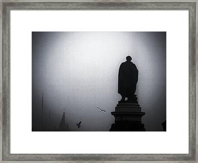 O O'connell Street Under Fog Framed Print by Patrick Horgan