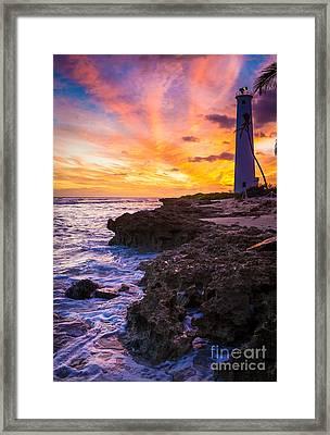 Oahu Lighthouse Framed Print by Inge Johnsson