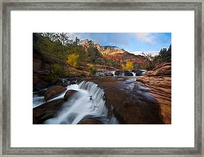 Oak Creek Cascades Framed Print by Guy Schmickle