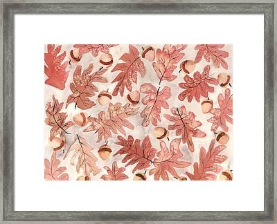 Oak Leaves And Acorns Framed Print by Neela Pushparaj