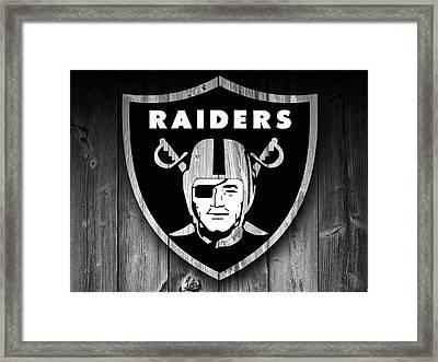 Oakland Raiders Barn Door Framed Print by Dan Sproul