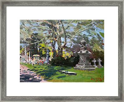 Oakwood Cemetery Framed Print by Ylli Haruni