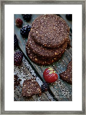 Oatmeal Chocolate Cookies With Fruit Framed Print by Mythja  Photography