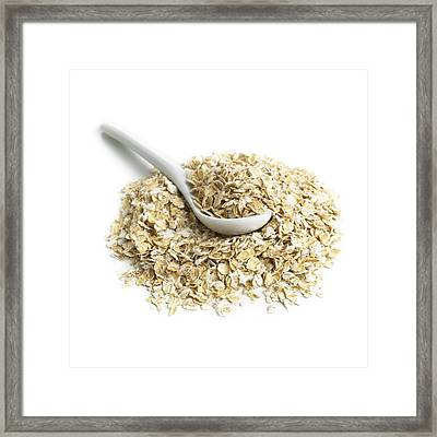 Oats And A Spoon Framed Print by Science Photo Library