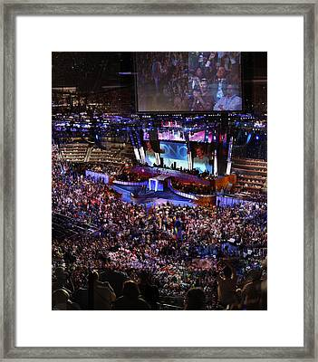 Obama And Biden At 2008 Convention Framed Print by Stephen Farley