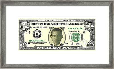 Obama Million Dollar Bill Framed Print by Charles Robinson