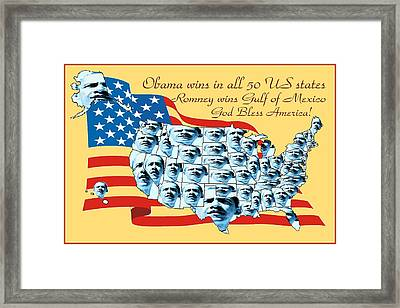 Obama Victory Map Us Election 2012 - Poster Art Framed Print by Art America Online Gallery