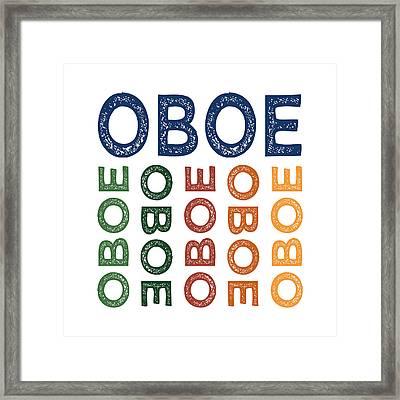 Oboe Cute Colorful Framed Print by Flo Karp