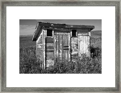 Obsolete Country School Outhouse Framed Print by Donald  Erickson