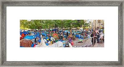 Occupy Wall Street At Zuccotti Park Framed Print by Panoramic Images