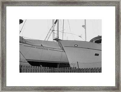Ocean Adventure Until Then The Two Are In Dry Dock Monochrome  Framed Print by Rosemarie E Seppala