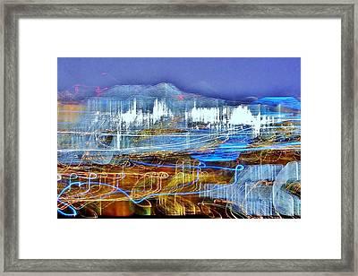 Ocean City Maryland At Night - Blue Framed Print by Kim Bemis