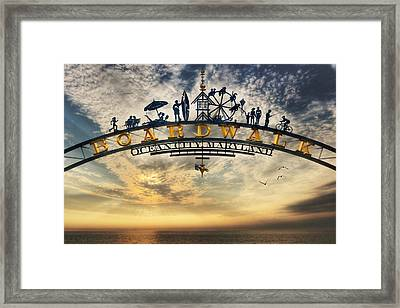 Ocean City Boardwalk Framed Print by Lori Deiter