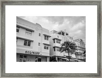 Ocean Drive Art Deco District Hotels - South Beach - Miami - Florida - Black And White Framed Print by Ian Monk