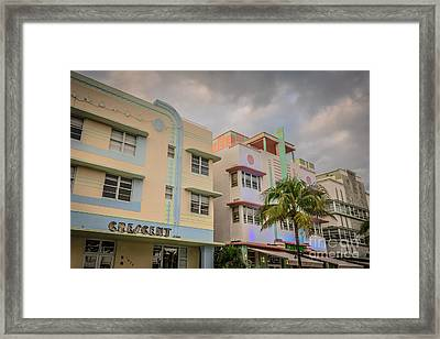 Ocean Drive Art Deco District Hotels - South Beach - Miami - Florida Framed Print by Ian Monk