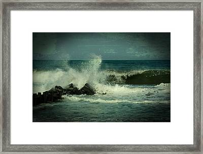 Ocean Impact - Jersey Shore Framed Print by Angie Tirado