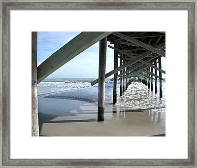 Ocean Isle Pier Framed Print by Joseph Tese