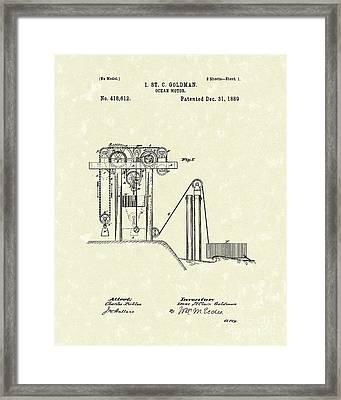 Ocean Motor 1889 Patent Art Framed Print by Prior Art Design