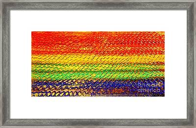 Ocean Sunset - Abstract Oil Painting Original Metallic Gold Textured Modern Contemporary Art Framed Print by Emma Lambert