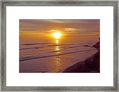 Ocean Sunset Breeze - Metaphysical Healing Energy Art Print Framed Print by Alex Khomoutov