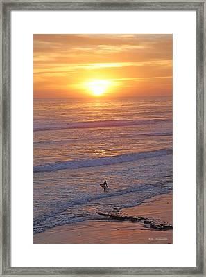 Ocean Sunset Surf  Framed Print by Alex Khomoutov