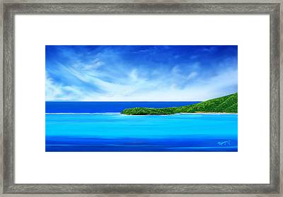 Ocean Tropical Island Framed Print by Anthony Fishburne