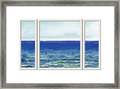 Ocean View Window Framed Print by Irina Sztukowski