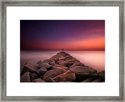 Oceanside Harbor Jetty Sunset 5 Framed Print by Larry Marshall