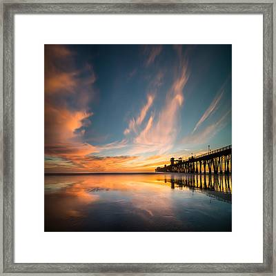 Oceanside Reflections 3 Square Framed Print by Larry Marshall