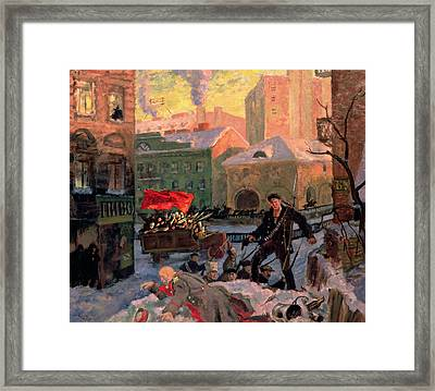 October 1917 In Petrograd Framed Print by Boris Mihajlovic Kustodiev