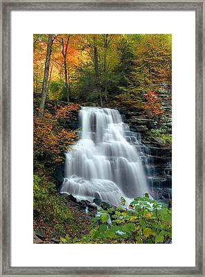 October Foliage Surrounding Erie Falls Framed Print by Gene Walls