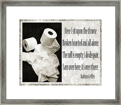 Ode To The Spare Roll Bw 2 Framed Print by Andee Design